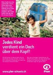 Jedes Kind verdient ein Dach über dem Kopf! - Plan Schweiz