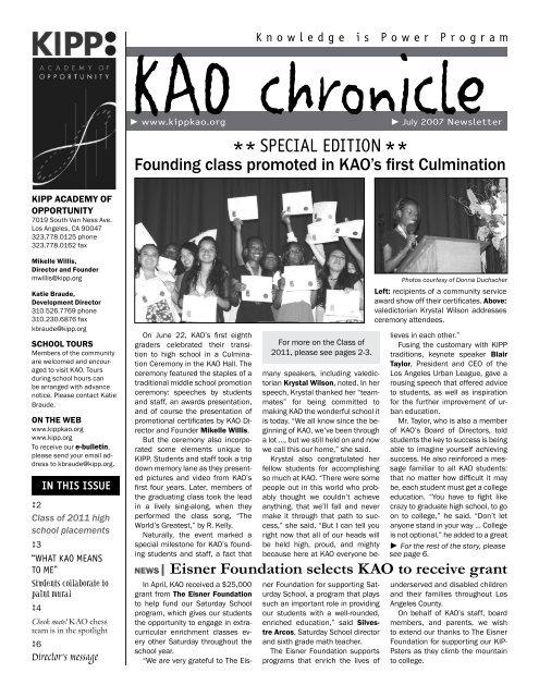 Kao Chronicle Kipp La Schools