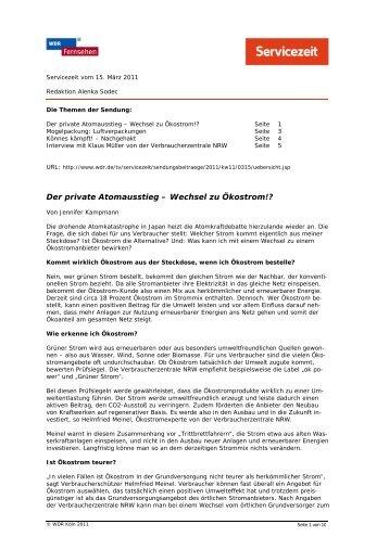 Der private Atomausstieg – Wechsel zu Ökostrom!? - WDR.de