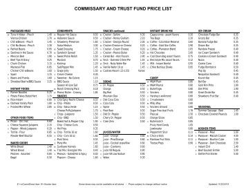 COMMISSARY AND TRUST FUND PRICE LIST