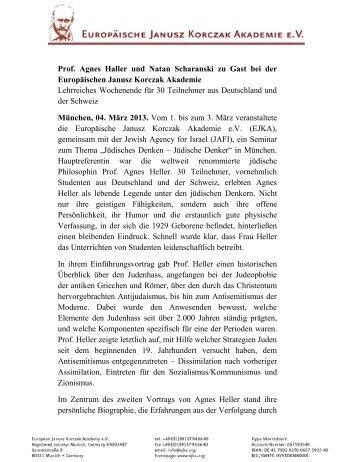 Prof. Agnes Haller und Natan Scharanski zu Gast bei der ... - Ejka