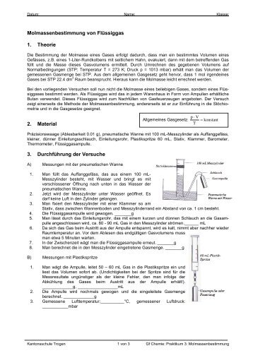Molmassenbestimmung von Flüssiggas 1. Theorie 2. Material 3 ...