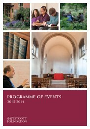 PROGRAMME OF EVENTS - Westcott House