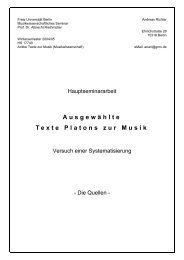 Ausgewählte Texte Platons zur Musik - andreas richter online