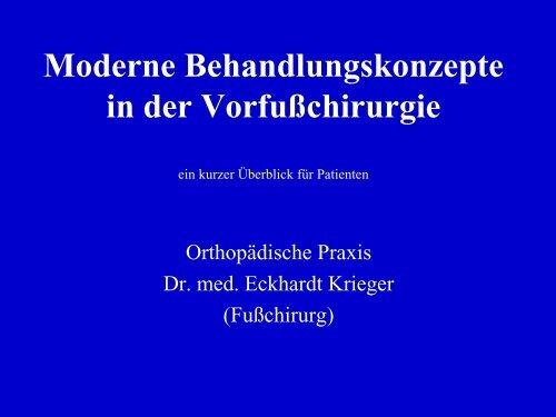 Fusschirurgie-Patienteninfo - Dr. med. Eckhardt Krieger