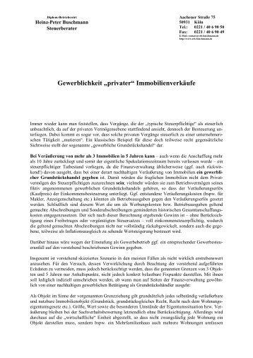 """Gewerblichkeit """"privater"""" Immobilienverkäufe - Steuerberater H.-P ..."""