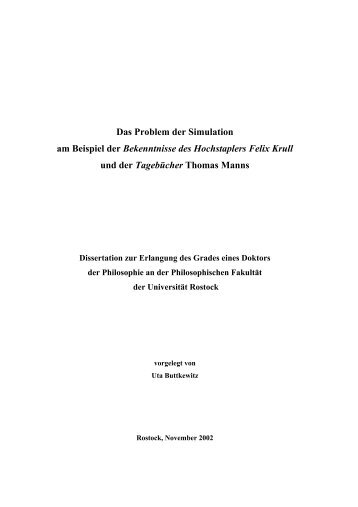 Problem der Simulation - Thomas Mann