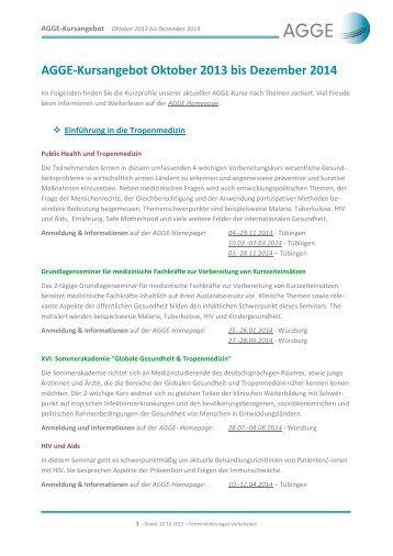 AGGE-Kursangebot Oktober 2013 bis Dezember 2014
