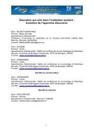 Education aux arts dans l'institution scolaire - Espace Numérique de ...