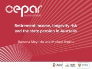 Retirement income, longevity risk and the state pension in ... - CEPAR