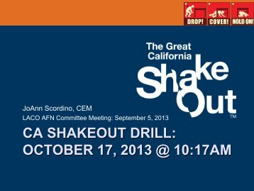 ca shakeout drill: october 17, 2013 @ 10:17am - City of Pasadena