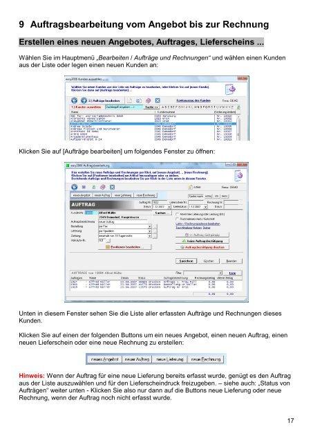 Auftragsbearbeitung Faktura Software Easy2000