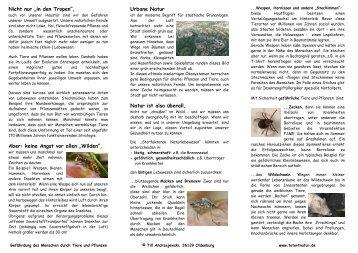 Faltblatt Tatort Natur - Tatort Natur - Gefahr durch Tiere und Pflanzen