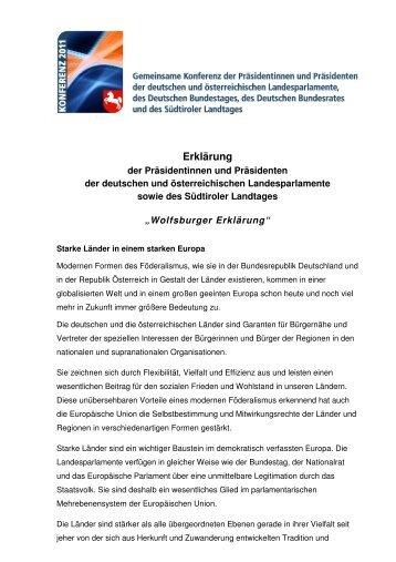 Wolfsburger Erklärung Fließtext mit Logo - Ausschuss Bund und ...