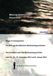WEGE IM UNWEGSAMEN - Evangelisch-reformierte Kirchgemeinde ...