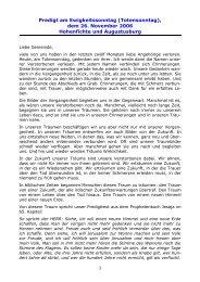 Predigt am Ewigkeitssonntag (Totensonntag), dem 26. November ...
