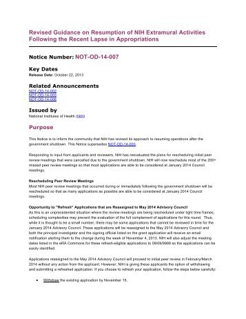 Revised Guidance on Resumption of NIH Extramural Activities ...