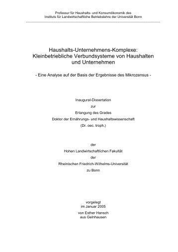 Haushalts-Unternehmens-Komplexe - ULB Bonn :: Amtliche ...