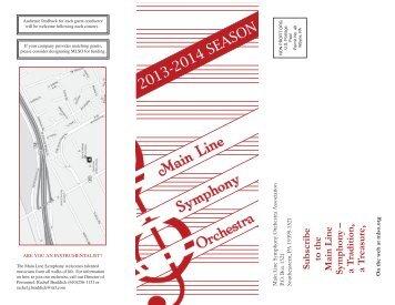 2013-2014 SEASON - Main Line Symphony Orchestra