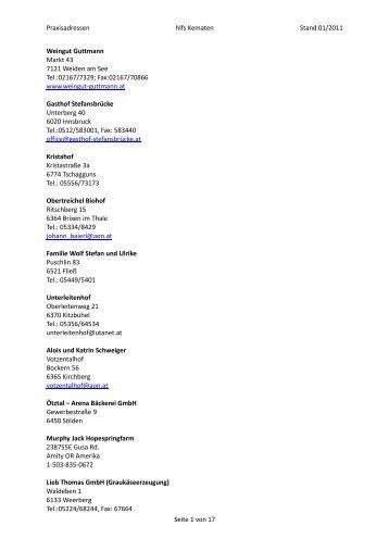 Praxisadressen hlfs Kematen Stand 01/2011 Weingut Guttmann ...
