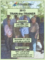 2013 TRAIN-the-TRAINER - Competitive Edge, Inc.