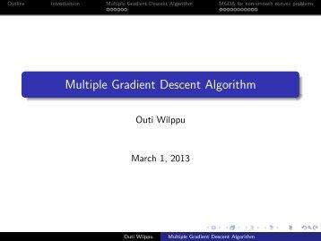 Multiple Gradient Descent Algorithm