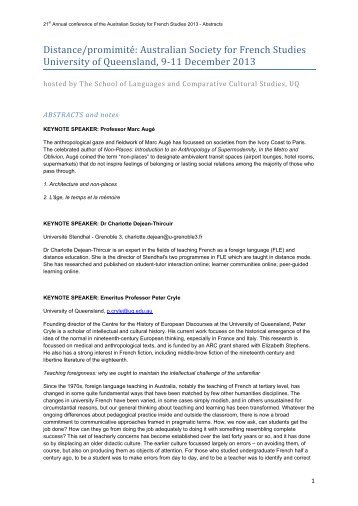 Abstracts - School of Languages & Comparative Cultural Studies