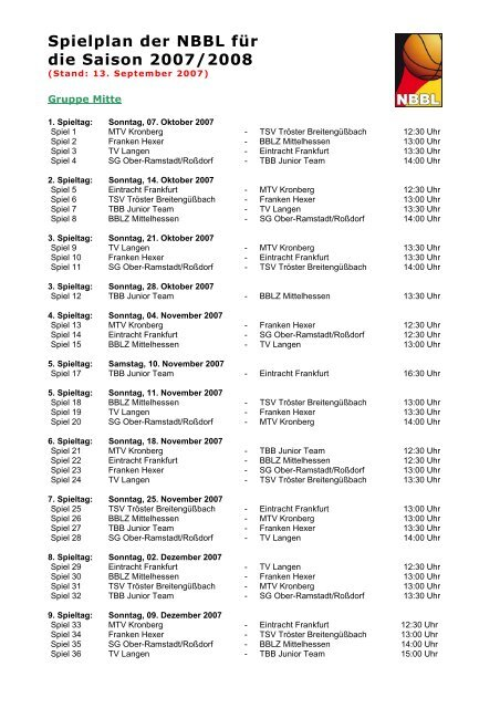 Spielplan der NBBL für die Saison 2007/2008 - Neckar RIESEN ...