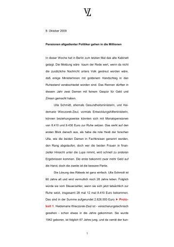 1 9. Oktober 2009 Pensionen altgedienter Politiker gehen ... - Looman