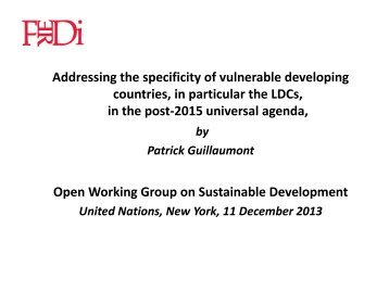 Addressing the specificity of vulnerable developing countries, in ...