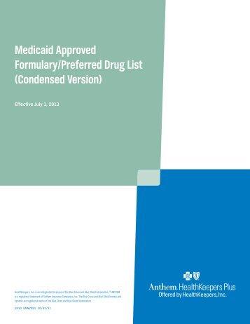 Medicaid Approved Formulary/Preferred Drug List ... - Anthem