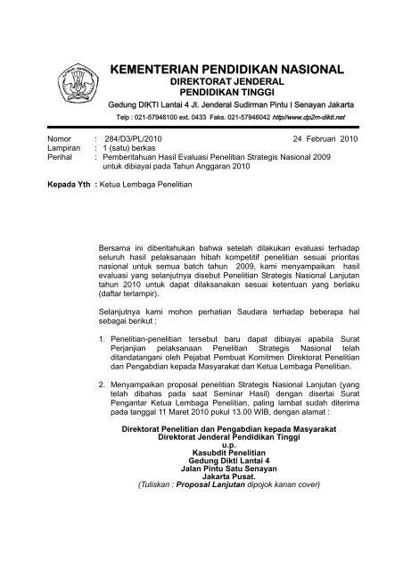 Surat Pemberitahuan Hasil Evaluasi Penelitian Lppm Undip
