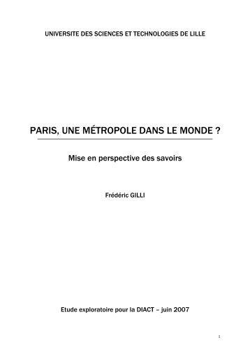 PARIS, UNE MÉTROPOLE DANS LE MONDE ? - Datar