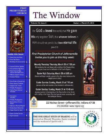 March - Apri1 2013 Easter edition - First Presbyterian Church