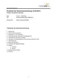 Protokoll der GV 2013 - Sunshine School