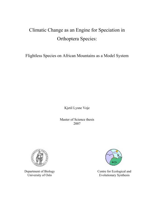 CLIMATIC CHANGE AS AN ENGINE FOR SPECIATION IN ... - DUO