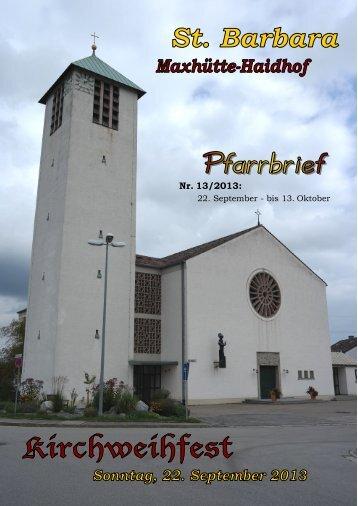 Nr. 13/2013: - Pfarrei St. Barbara Maxhütte-Haidhof