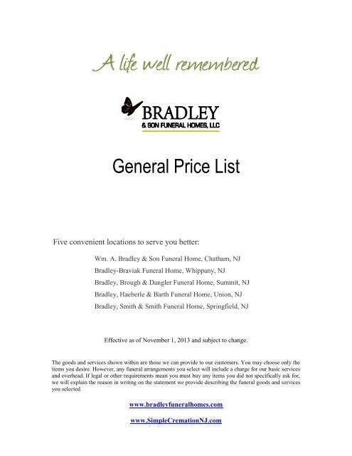 General Price List Bradley Son Funeral Homes