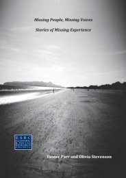 Missing People, Missing Voices Stories of Missing Experience ...