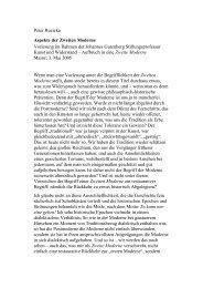 Aspekte der Zweiten Moderne - Johannes Gutenberg ...
