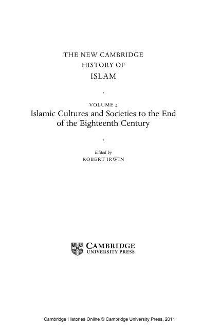 The New Cambridge History Of Islam Volume 4pdf