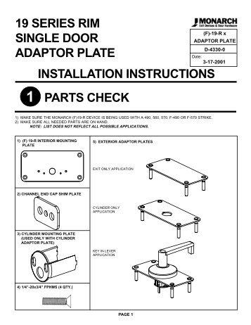 19 series rim single door adaptor plate installation instructions parts ...