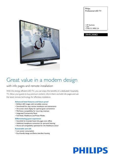 39HFL3008D/12 Philips Professional LED TV - Yardley Hospitality