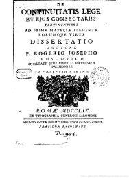Bošković, Ruđer Josip (1711-1787). De continuitatis lege ... - Libr@rsi