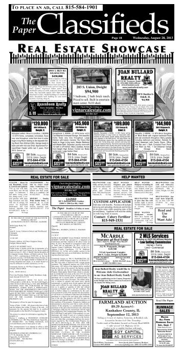 Read On Line Classifieds - The Paper