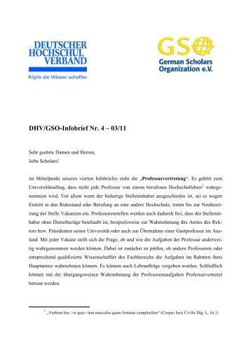 DHV/GSO-Infobrief Nr. 4 – 03/11 - German Scholars Organization