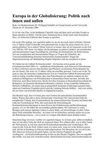 Rede von Bundesminister Dr. Wolfgang Schäuble am Europa Institut ...