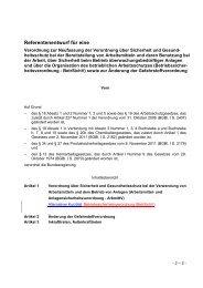 Referentenentwurf der neuen Arbeitsmittelverordnung
