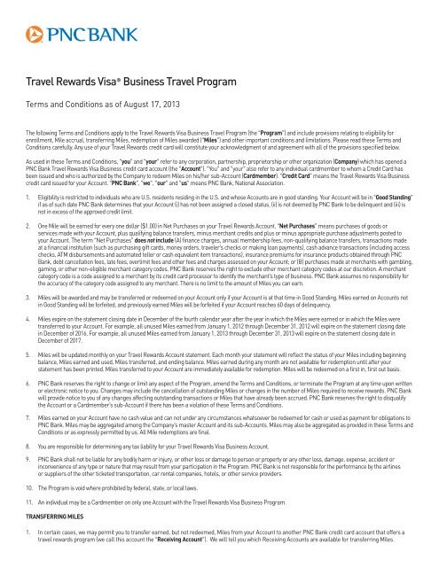 Travel Rewards Visa® Business Travel Program Terms and