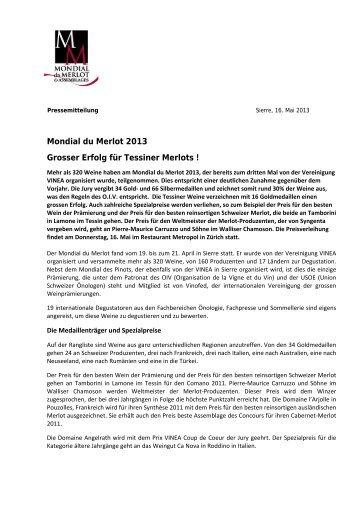 Mondial du Merlot 2013 Grosser Erfolg für Tessiner Merlots !